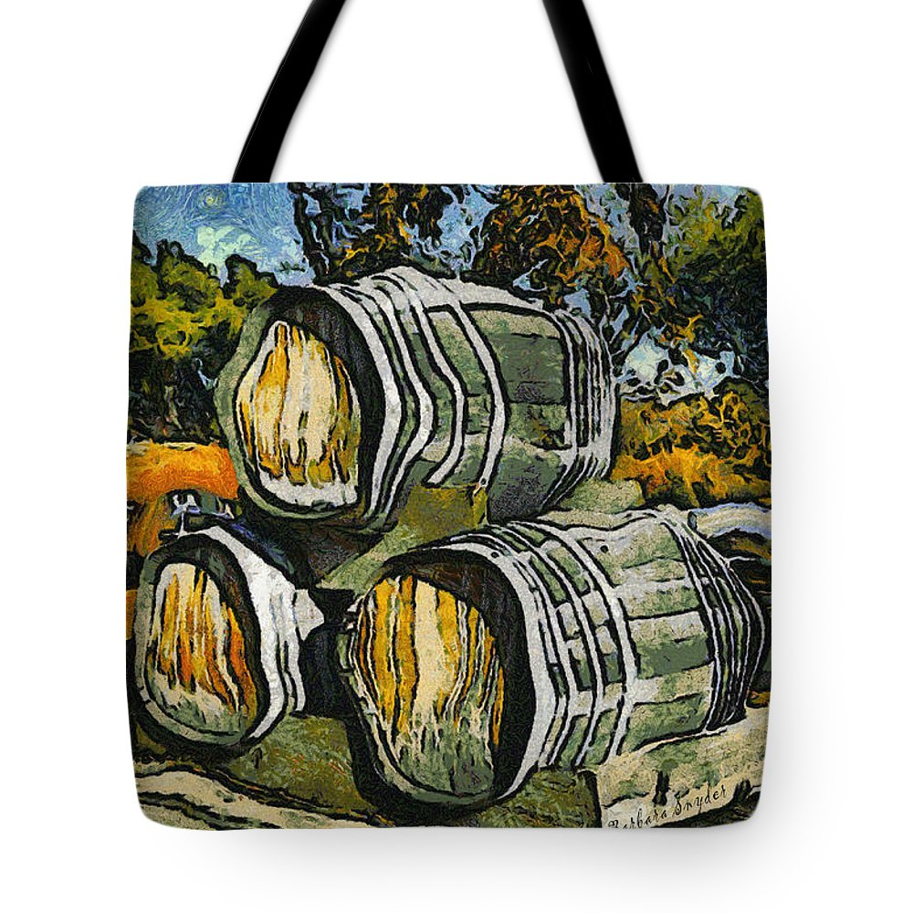 Blackjack Winery Wine Barrels Tote Bag featuring the digital art Blackjack Winery Wine Barrels by Barbara Snyder