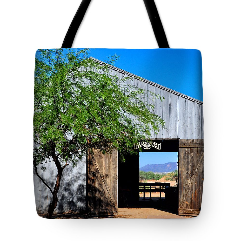 Old Tote Bag featuring the photograph Blacksmith Shop In Old Barn by Diane Wood