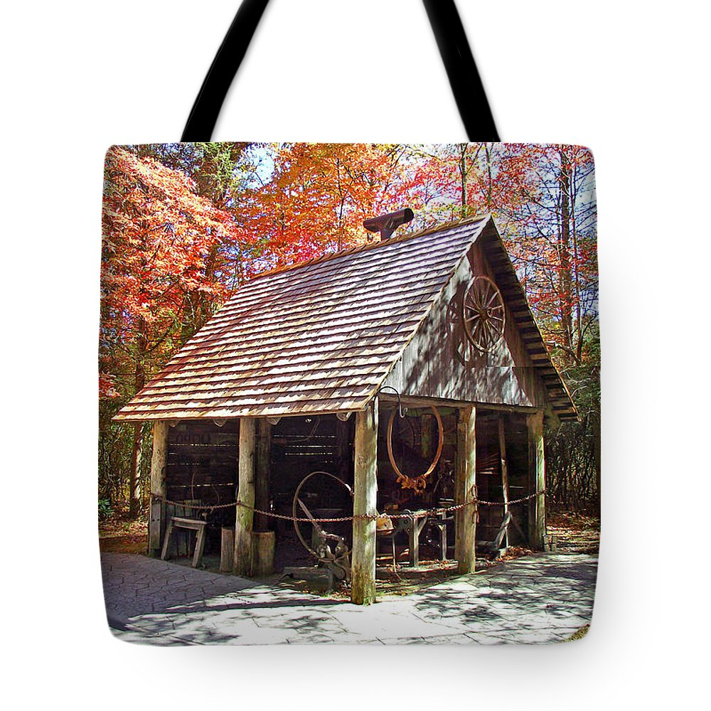 Blacksmith Tote Bag featuring the photograph Blacksmith Shop In The Fall by Duane McCullough