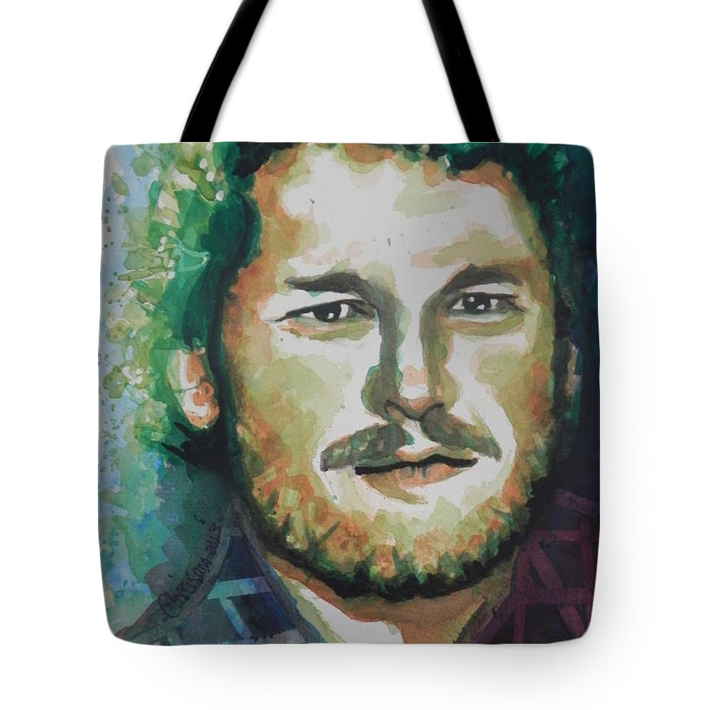 Watercolor Painting Tote Bag featuring the painting Blake Shelton Country Singer by Chrisann Ellis