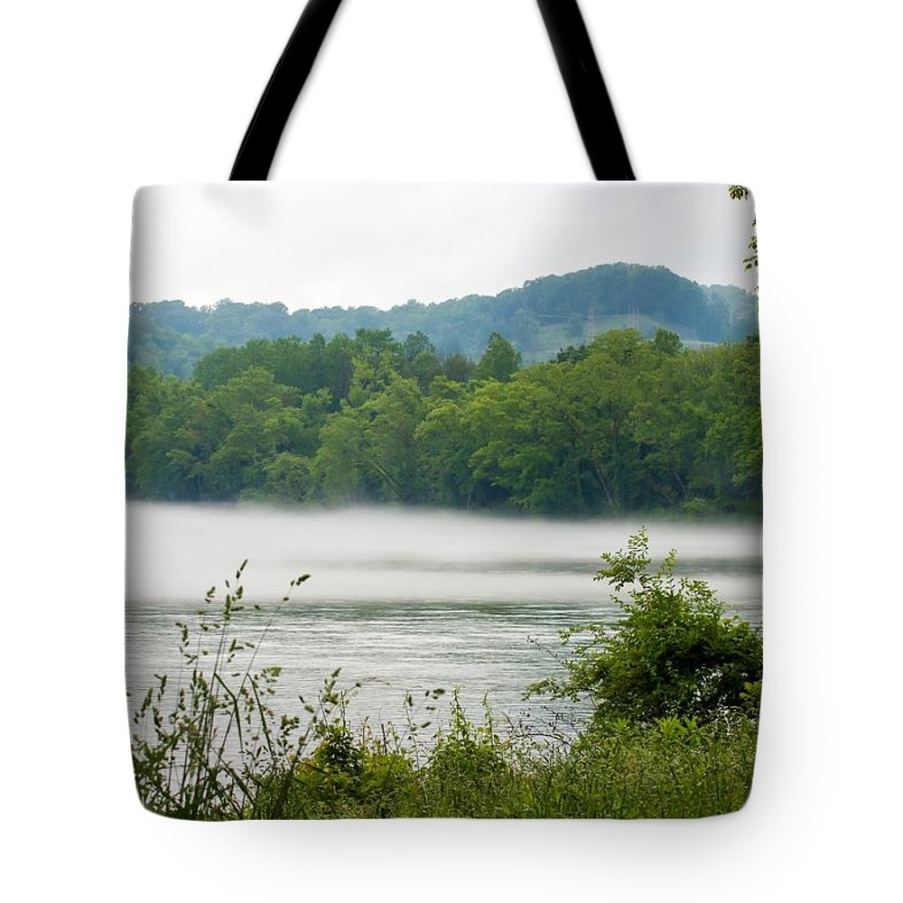 Blanket Of Fog On Clinch River Tote Bag featuring the photograph Blanket Of Fog On Clinch River by Cynthia Woods