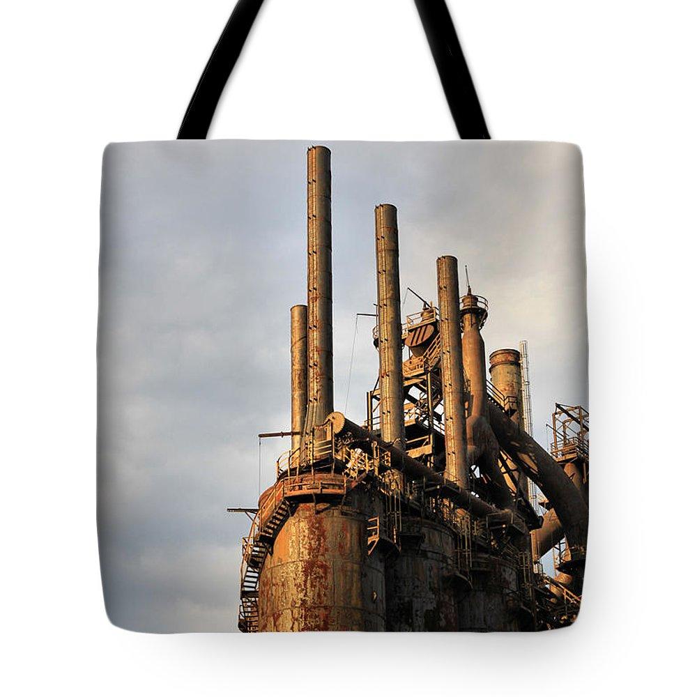 Bethlehem Tote Bag featuring the photograph Blast Furnaces - Bethlehem Pa by DJ Florek
