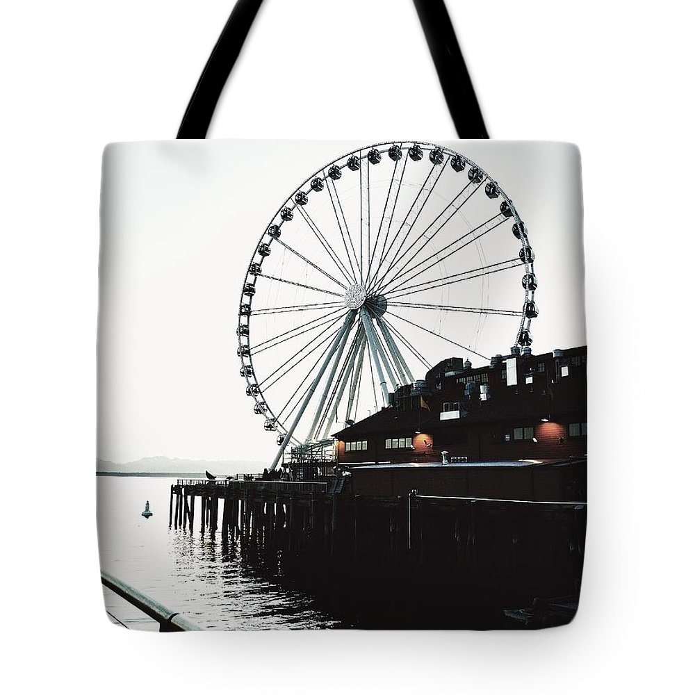 Seattle Ferris Wheel Tote Bag featuring the photograph Bleached Waterfront by Sue Small