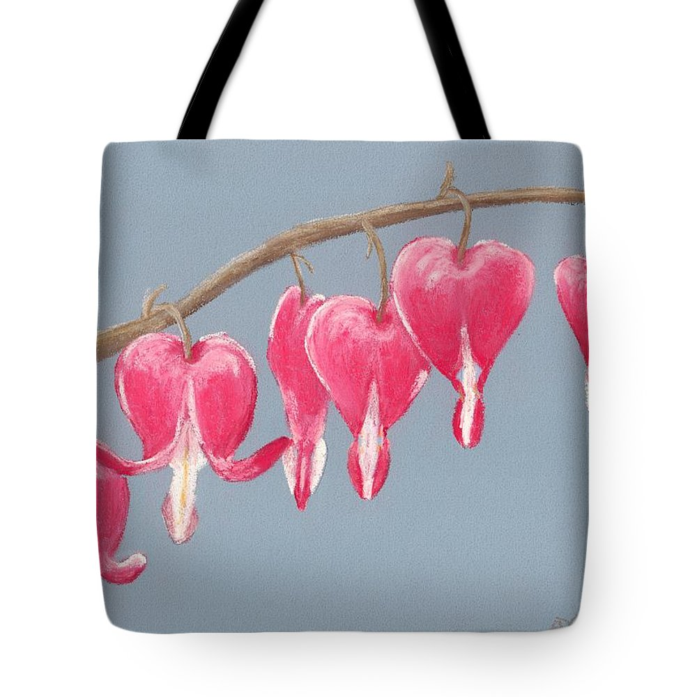 Bleeding Tote Bag featuring the painting Bleeding Hearts by Anastasiya Malakhova