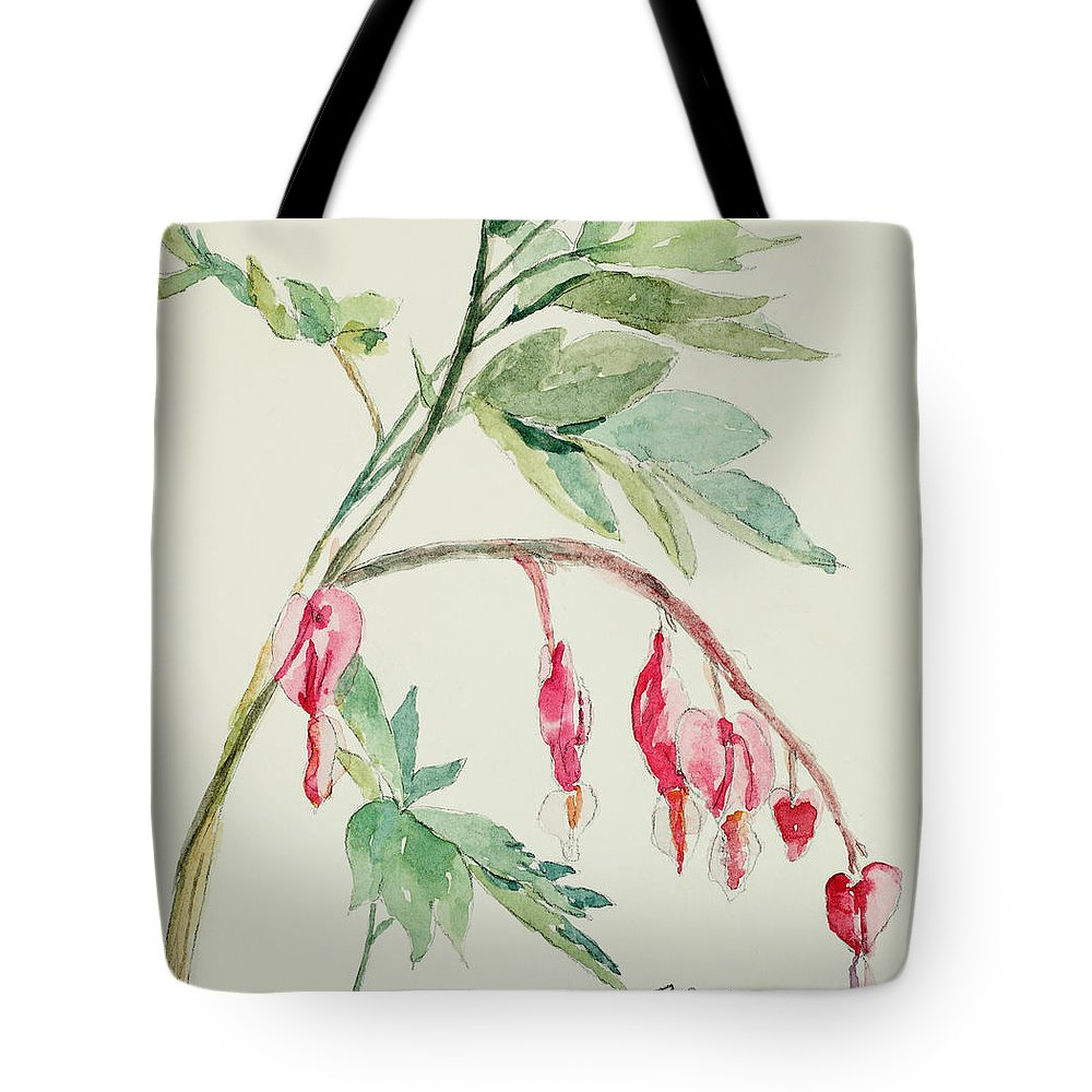 Watercolor Tote Bag featuring the painting Bleeding Hearts IIi by Mary Benke