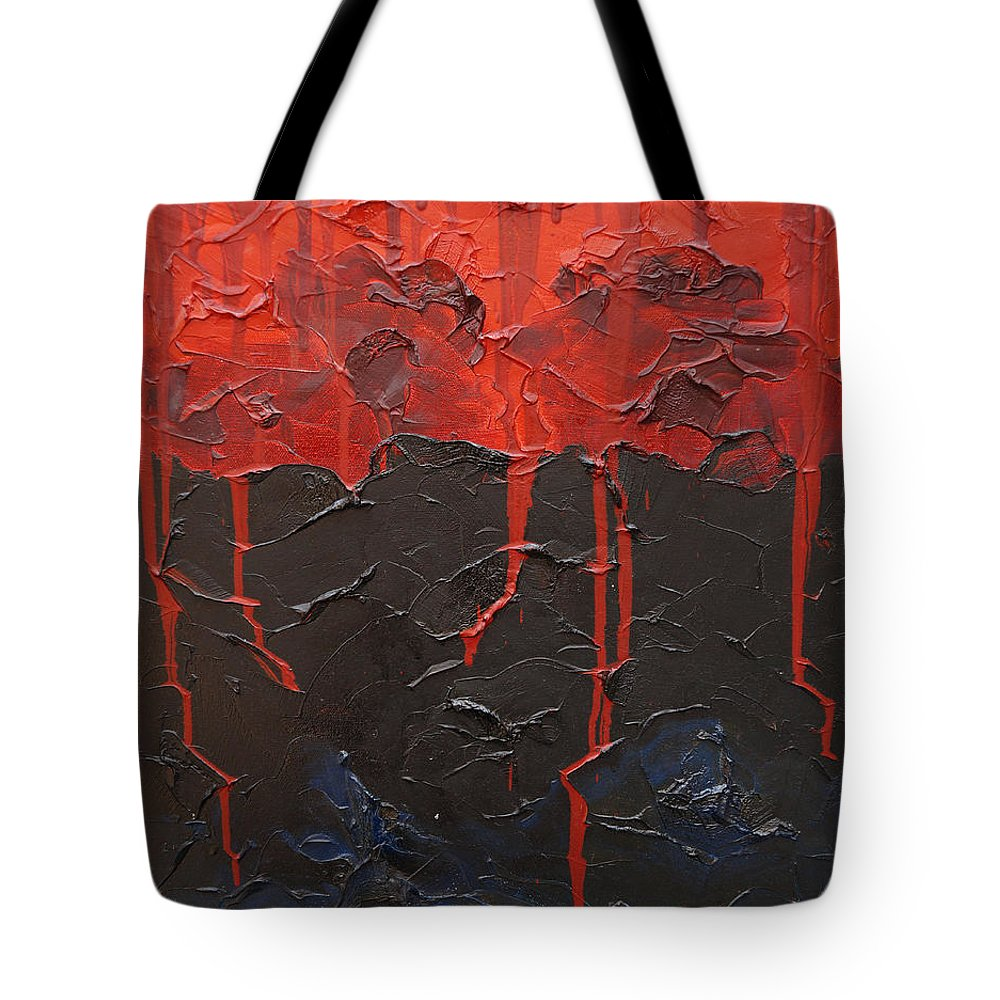 Fantasy Tote Bag featuring the painting Bleeding sky by Sergey Bezhinets
