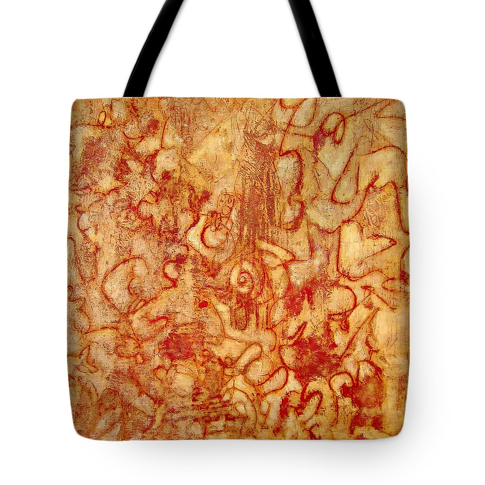 Heart Ache Tote Bag featuring the painting Bleeding Through by Teresa Carter