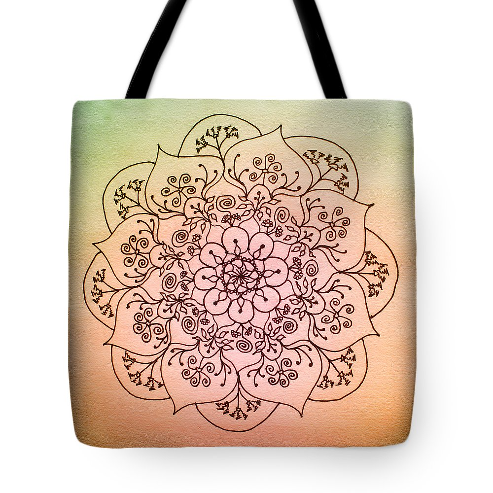 Mandala Tote Bag featuring the drawing Blessed Rain - New Day by Heather Bach