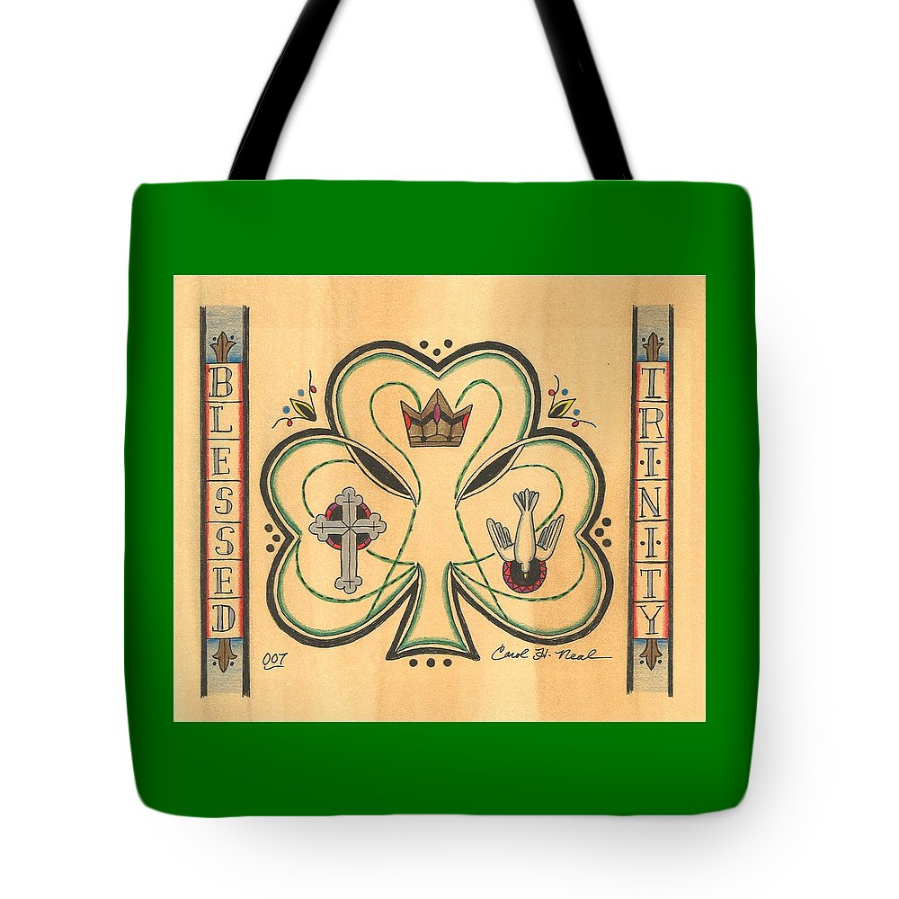 Blessed Trinity Tote Bag featuring the drawing Blessed Trinity by Carol Neal