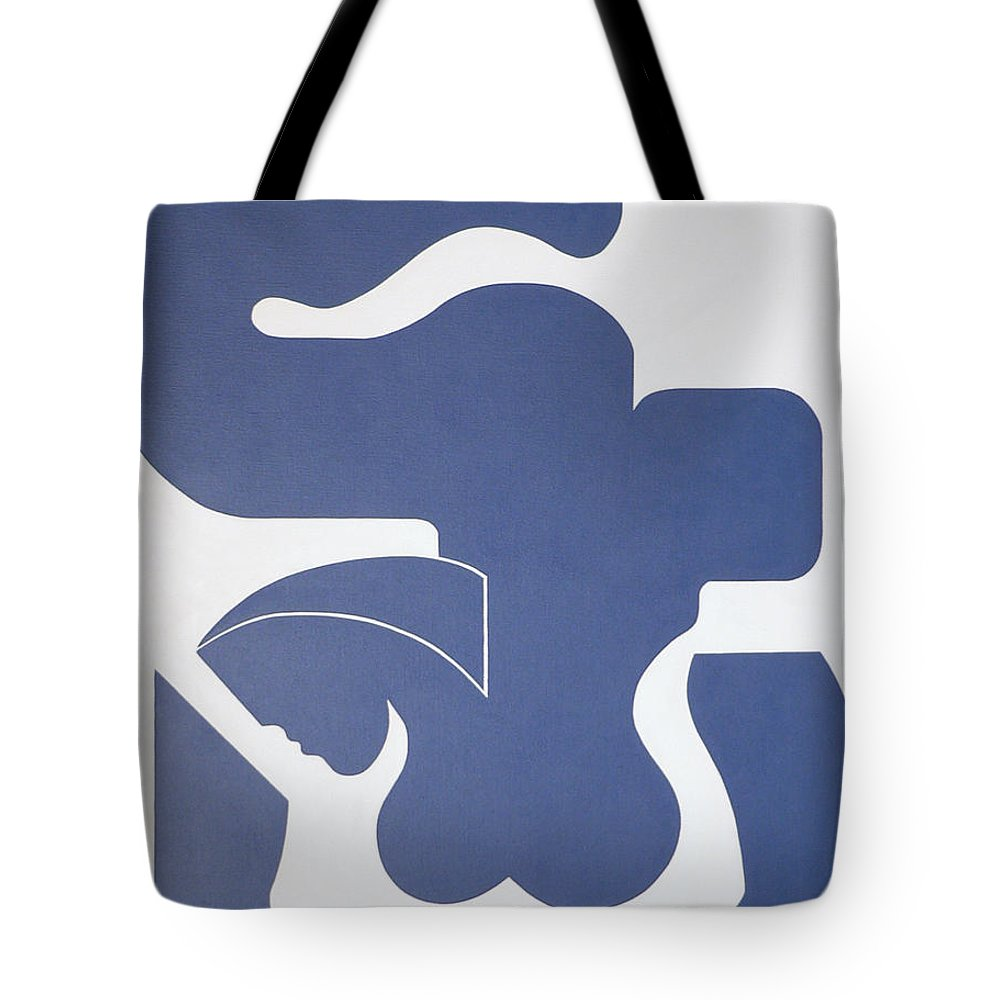 Women Bleu Hildearde Handsaeme For Sale Prints Modern Canvas Tote Bag featuring the painting Bleu Sensation by Hildegarde Handsaeme