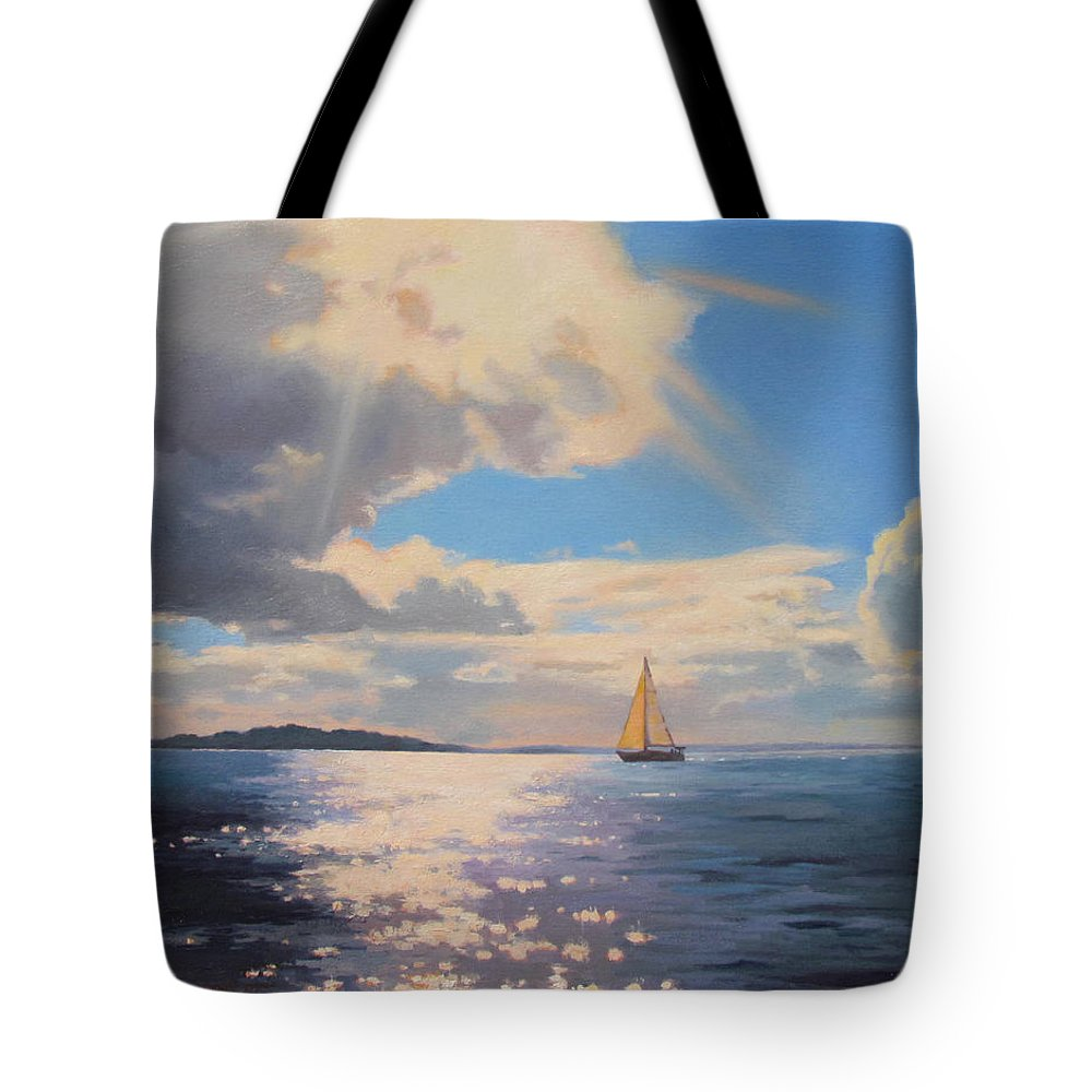 Sailboat Tote Bag featuring the painting Bliss by Dianne Panarelli Miller