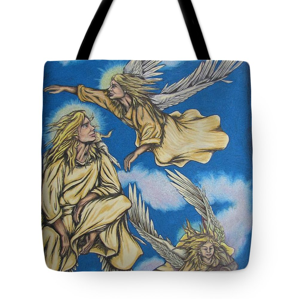 Michael Tote Bag featuring the drawing Bliss by Michael TMAD Finney