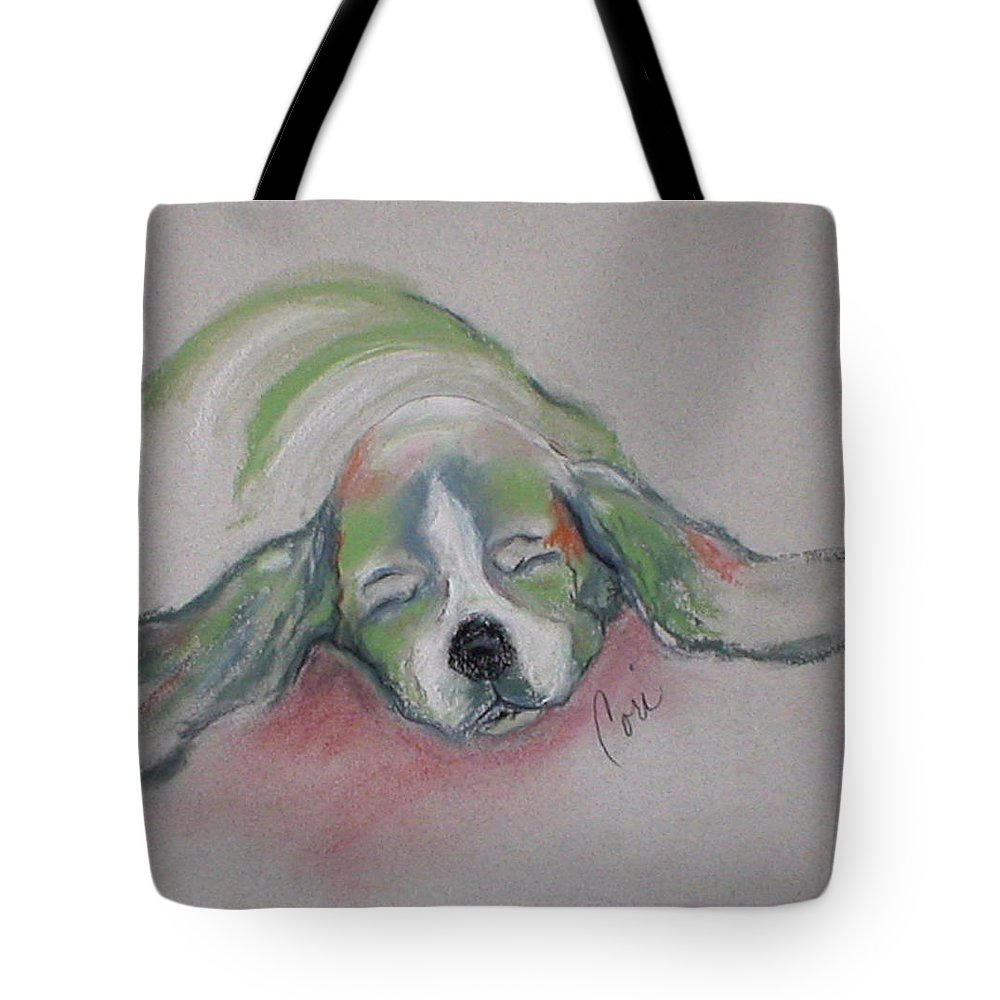 Basset Hound Tote Bag featuring the drawing Blissful Dreams IIi by Cori Solomon