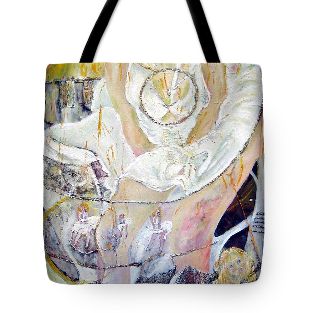 Figurative Tote Bag featuring the painting Blondie  by Peggy Blood
