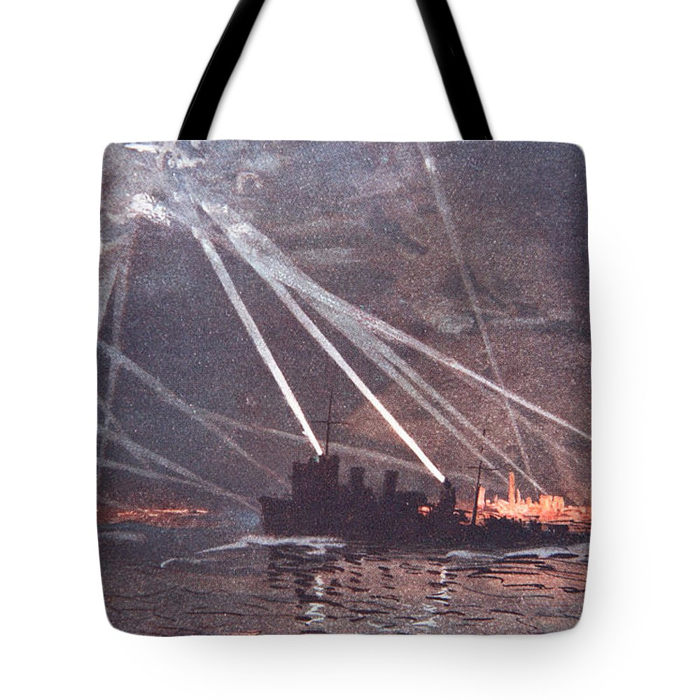 World War One Tote Bag featuring the painting Blood And Iron An Air Raid by Donald Maxwell