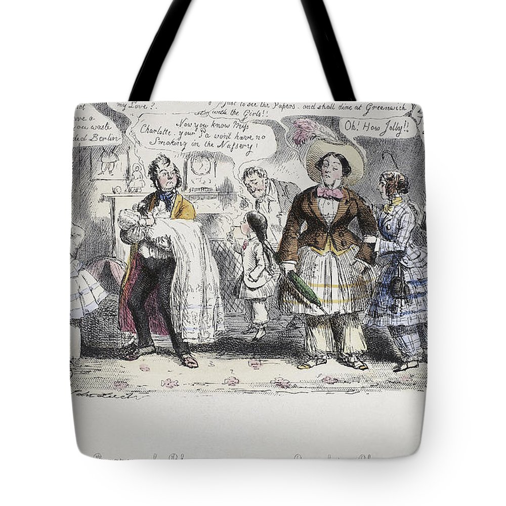 1851 Tote Bag featuring the painting Bloomer Cartoon, C1851 by Granger