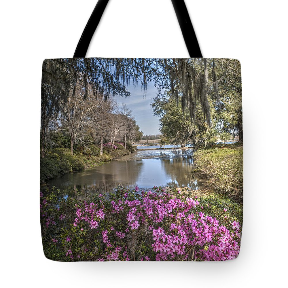 Water Tote Bag featuring the photograph Blooming Azaleias At Middleton Place Plantation by Dale Powell