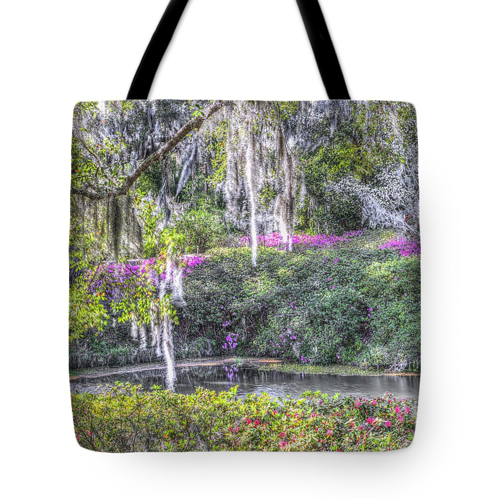 Pond Tote Bag featuring the photograph Blooming Azaleias by Dale Powell