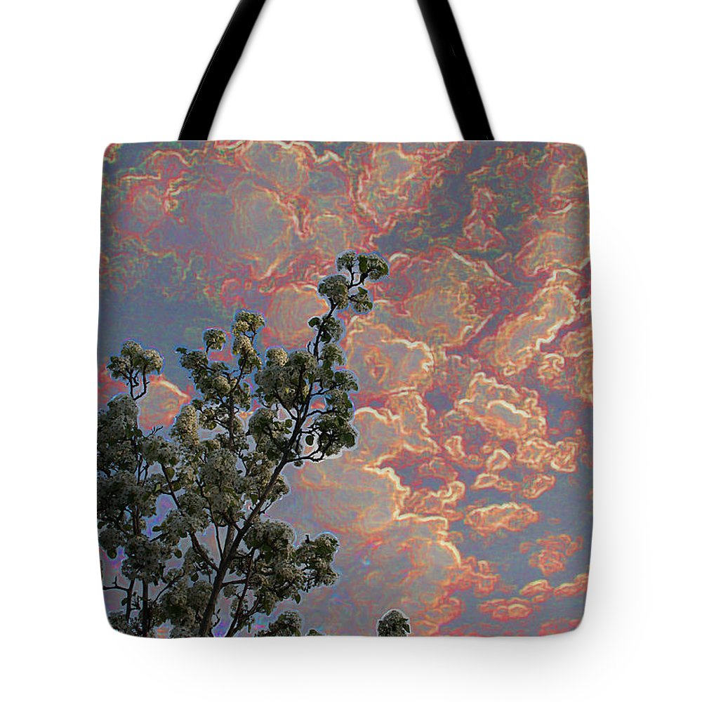 Special Effect Tote Bag featuring the photograph Blooming Tree And Sky by Mick Anderson
