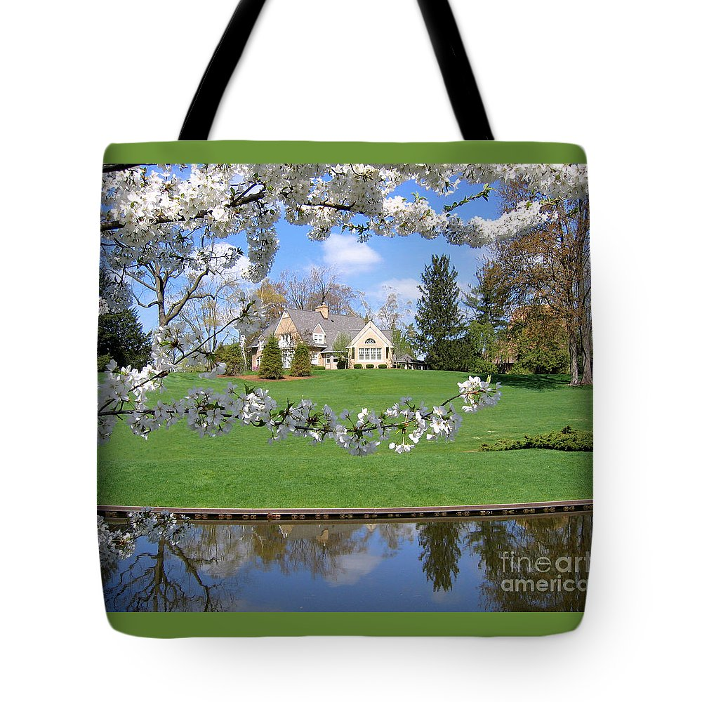 Spring Tote Bag featuring the photograph Blossom-framed House by Ann Horn