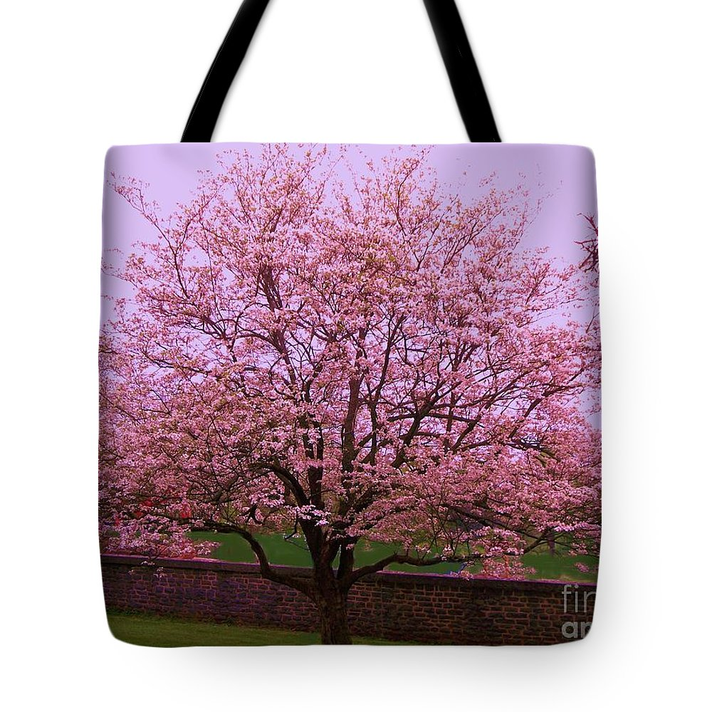 Blossoming Tote Bag featuring the painting Blossoming Almond Tree by Eric Schiabor