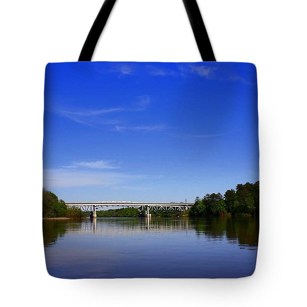River Tote Bag featuring the photograph Blountstown Bridge On The Apalachicola River by Debra Forand