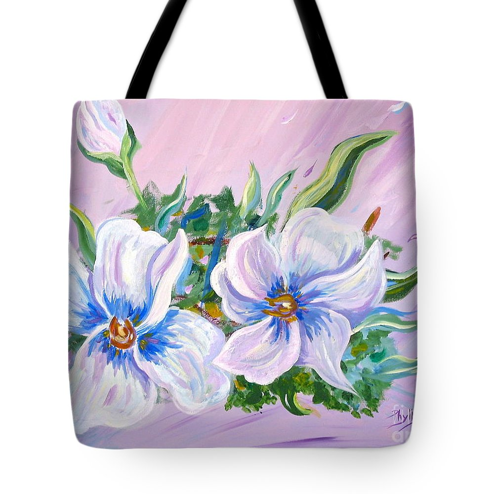 White Flowers Tote Bag featuring the painting Blowing In The Wind by Phyllis Kaltenbach