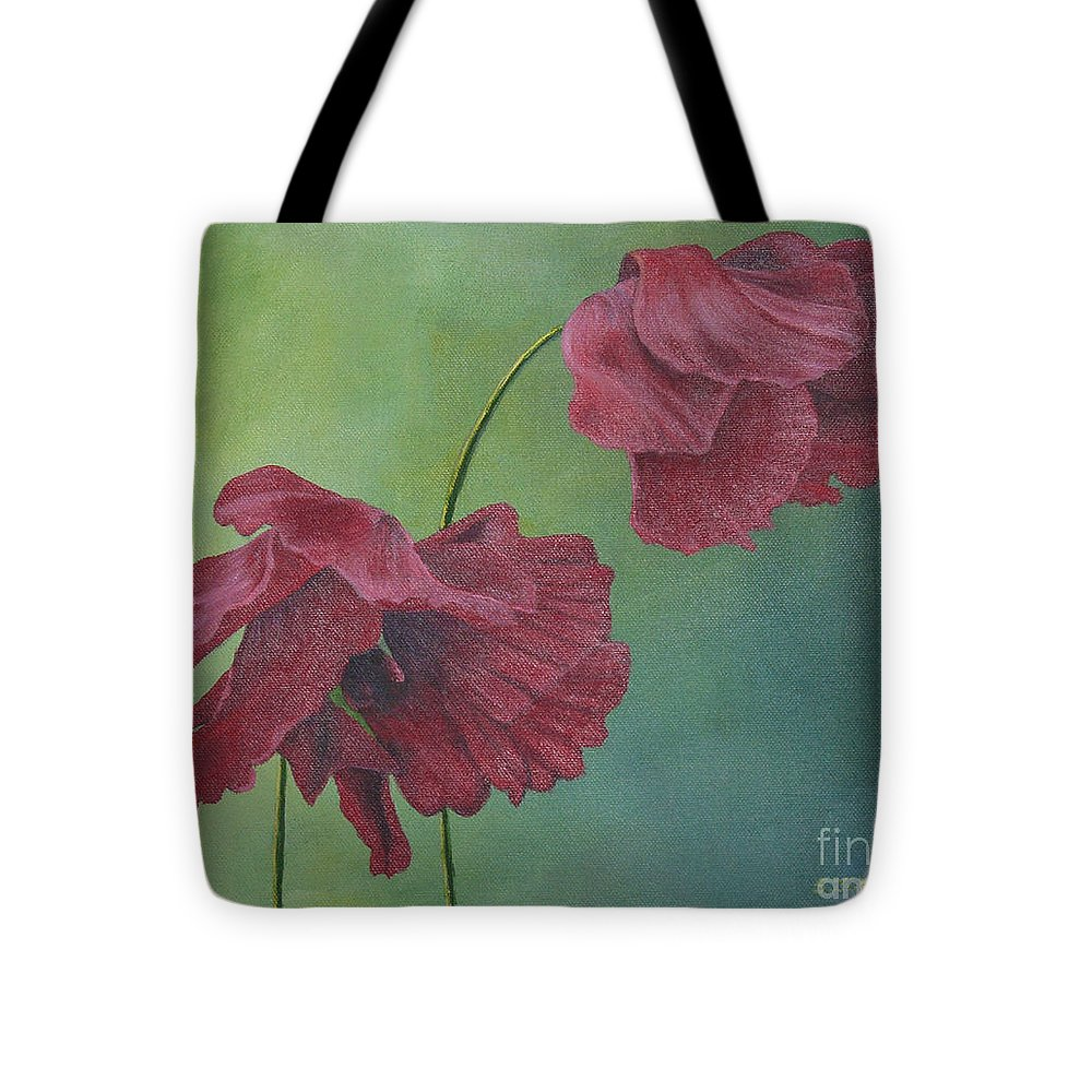 Flowers Tote Bag featuring the painting Blowing In The Wind by Sheryn Johnson