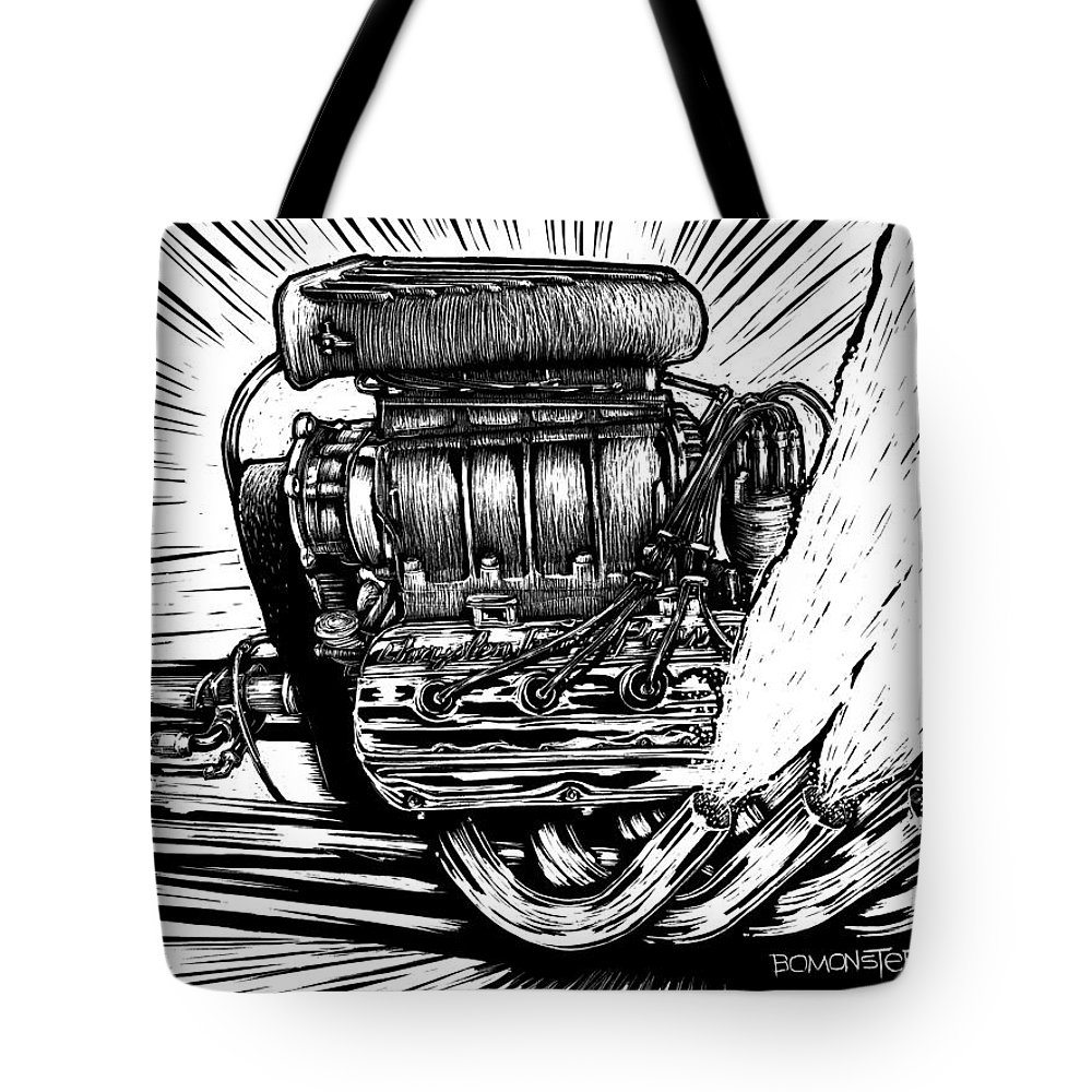 Blown Rail Tote Bag featuring the drawing Blown by Bomonster