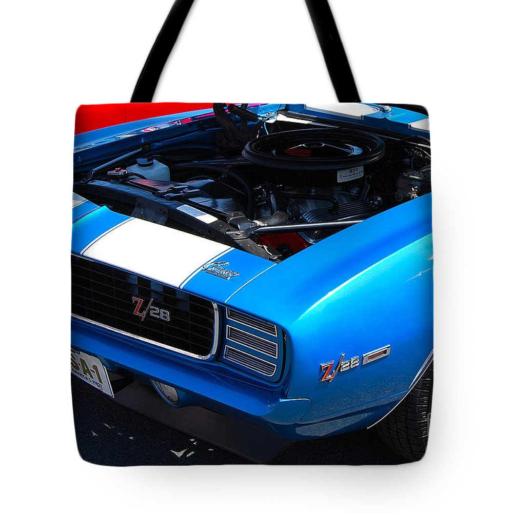 American Muscle Car Tote Bag featuring the photograph blue '69 Camaro Z28 by Mark Spearman