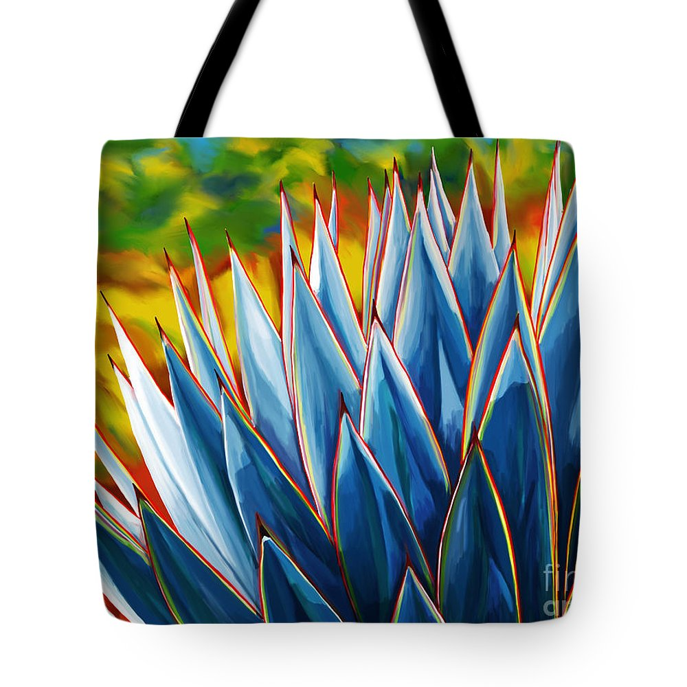 Blue Agave Tote Bag featuring the painting Blue Agave by Tim Gilliland