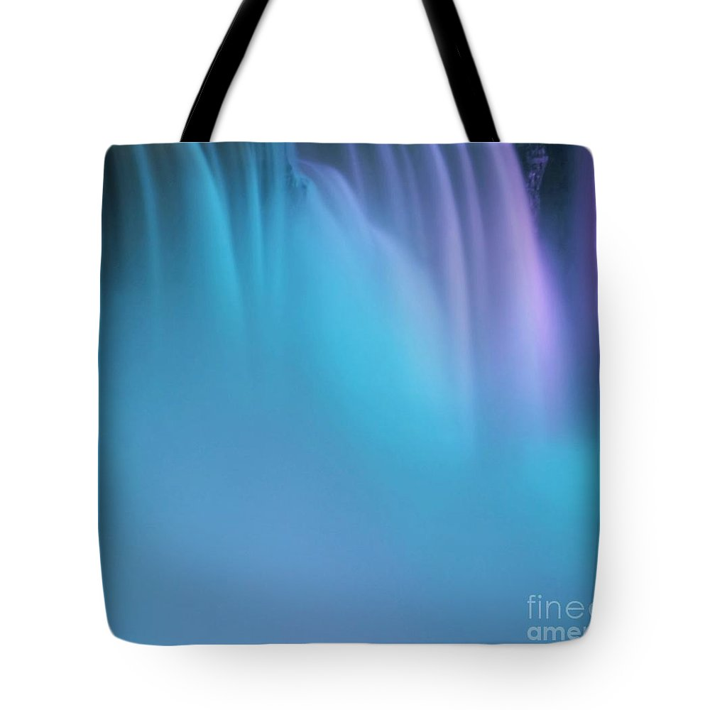 Abstract Tote Bag featuring the Blue And Orchid by Kathleen Struckle