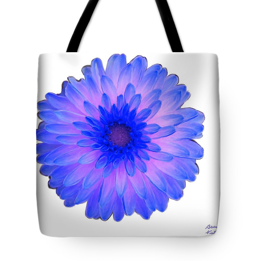 Blue Tote Bag featuring the painting Blue And Pink Dahlia by Bruce Nutting