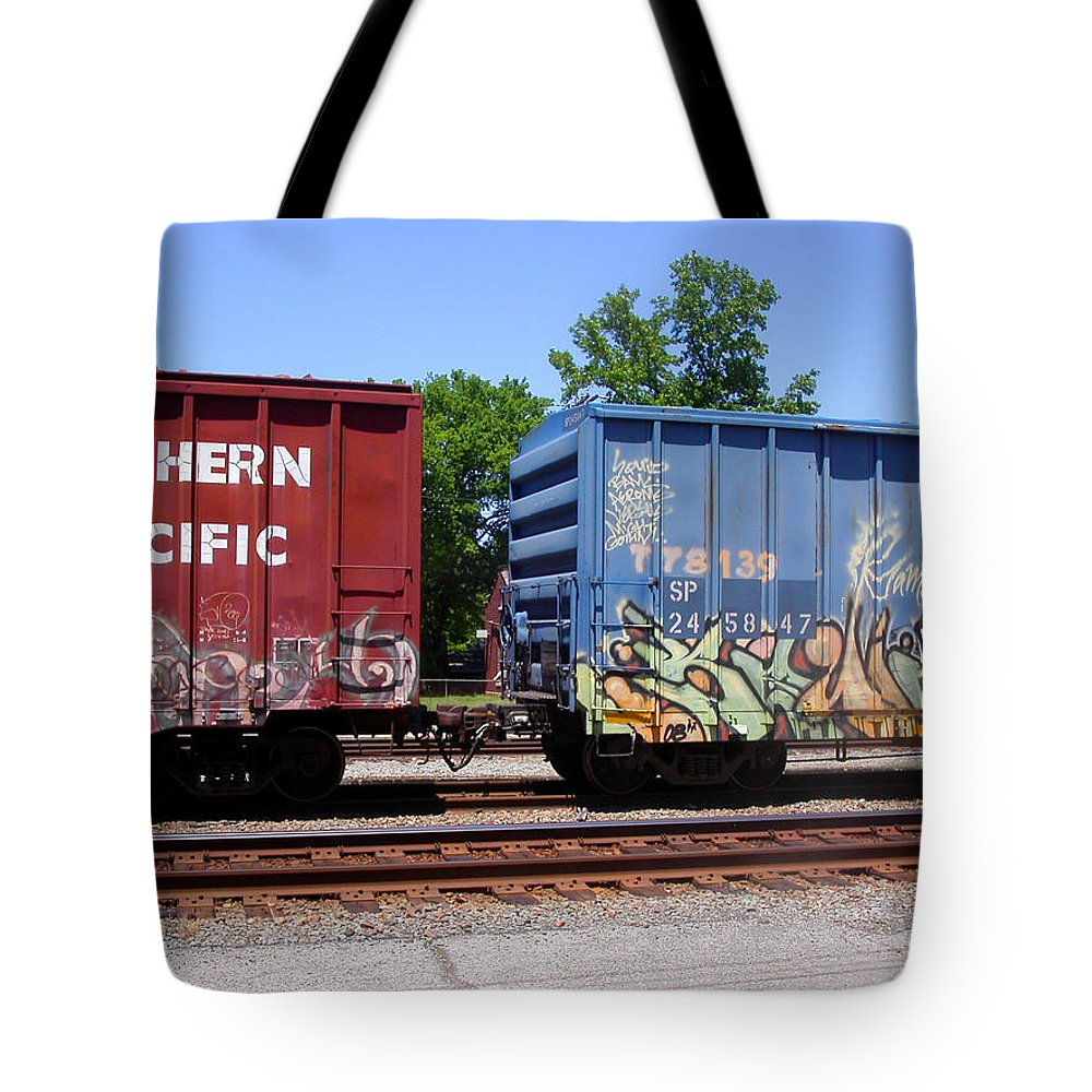 Train Tote Bag featuring the photograph Blue And Red by Anne Cameron Cutri