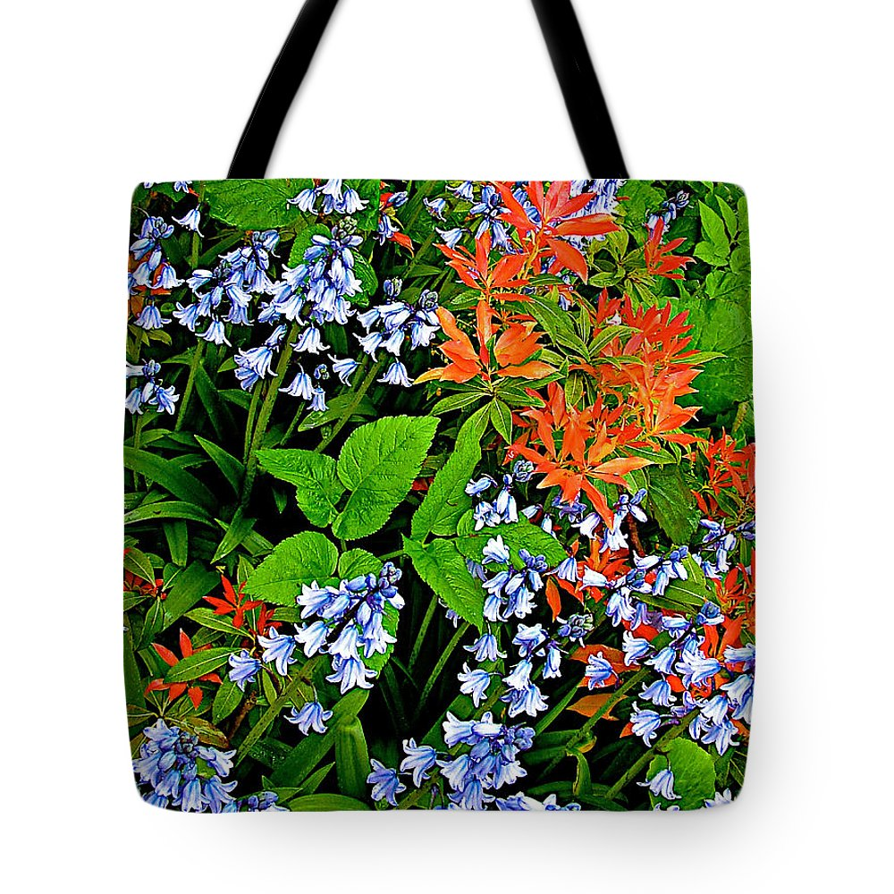 Blue And Red Flowers In Kuekenhof Flower Park Tote Bag featuring the photograph Blue And Red Flowers In Kuekenhof Flower Park-netherlands by Ruth Hager