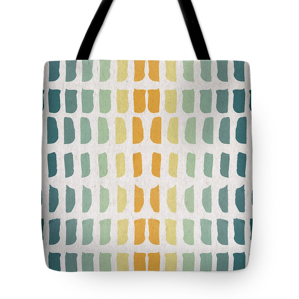 Contemporary Art Tote Bag featuring the digital art Blue And Yellow Pattern by Aged Pixel