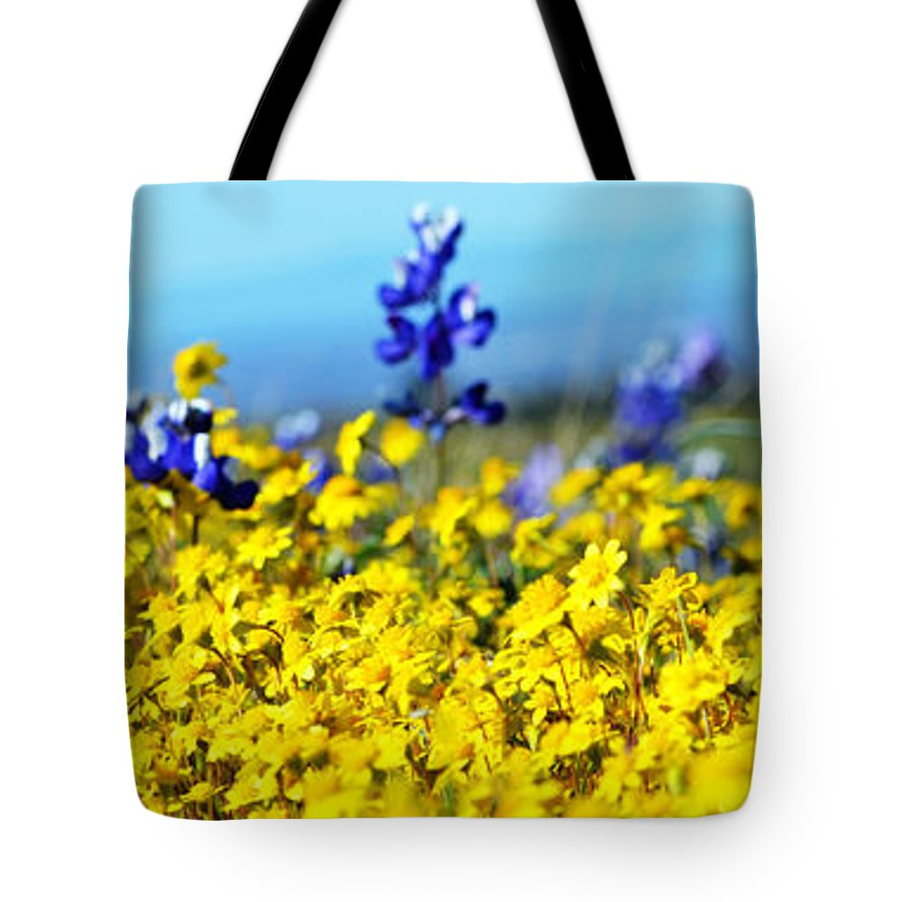Blue Tote Bag featuring the photograph Blue And Yellow Wildflowers by Holly Blunkall