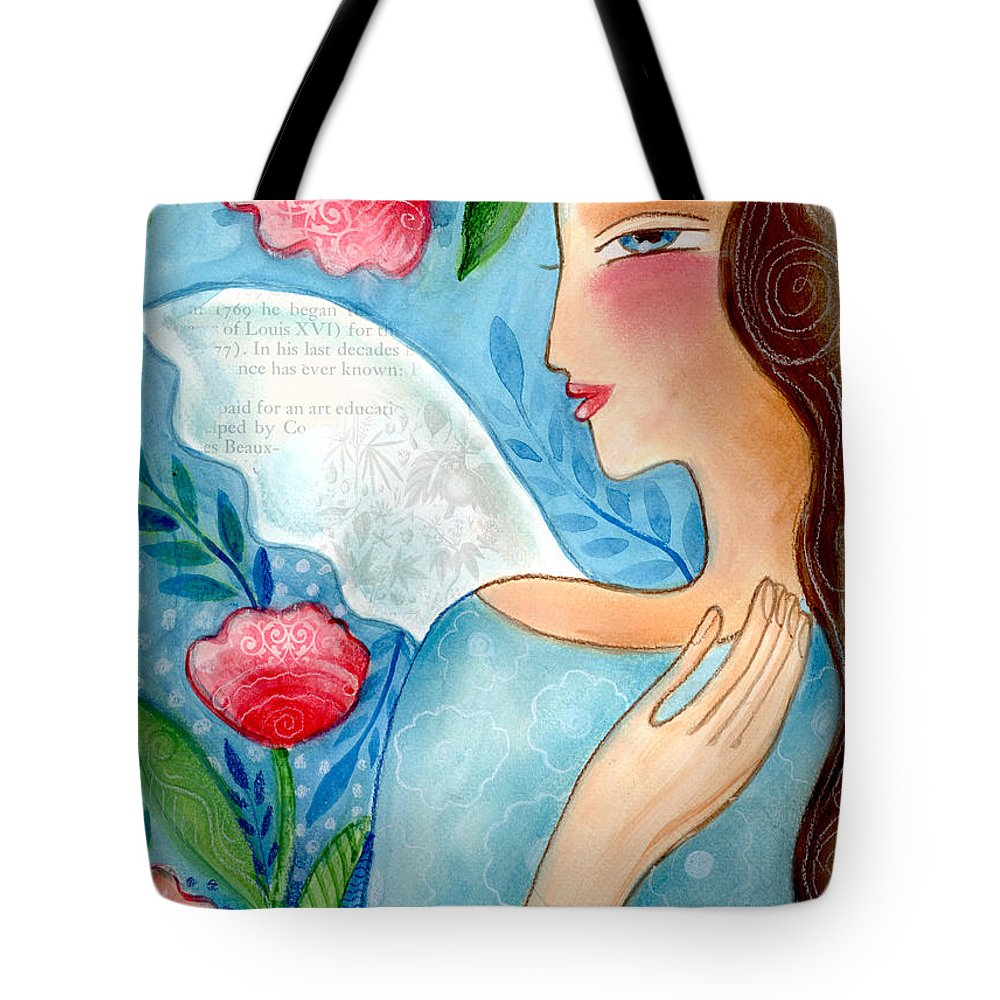 Angel Tote Bag featuring the mixed media Blue Angel by Elaine Jackson