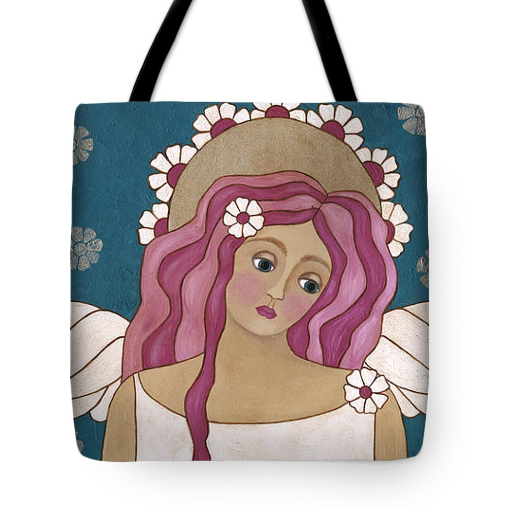 Angel Tote Bag featuring the painting Blue Angel by Medana Gabbard