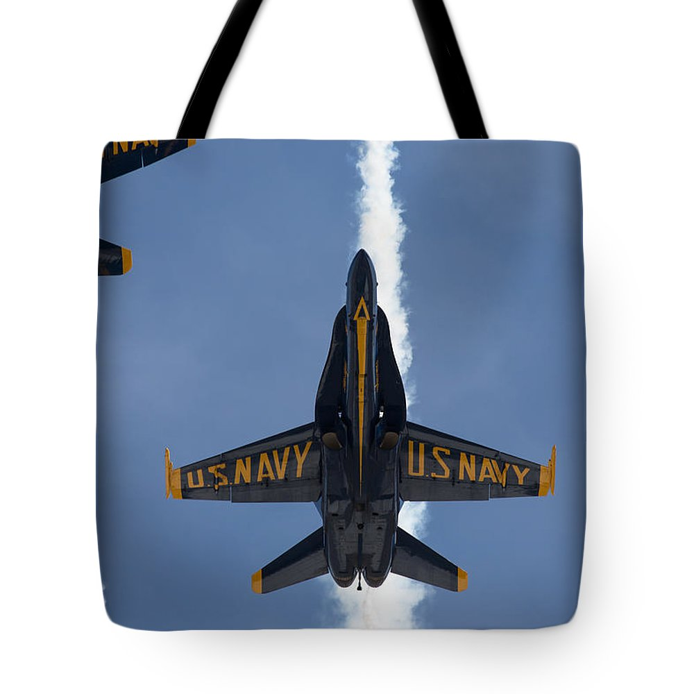 Blue Angels Tote Bag featuring the photograph Blue Angels Overhead Break by John Daly