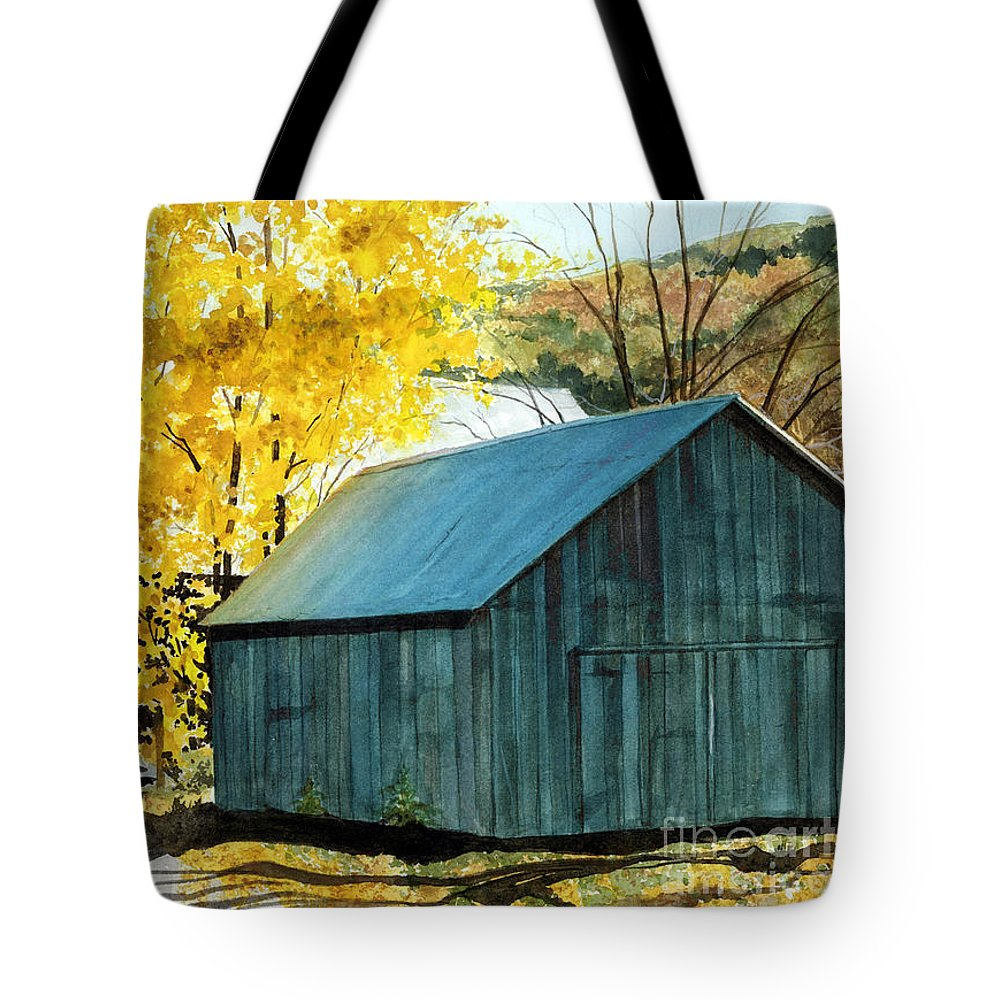 Blue Barn Tote Bag featuring the painting Blue Barn by Barbara Jewell