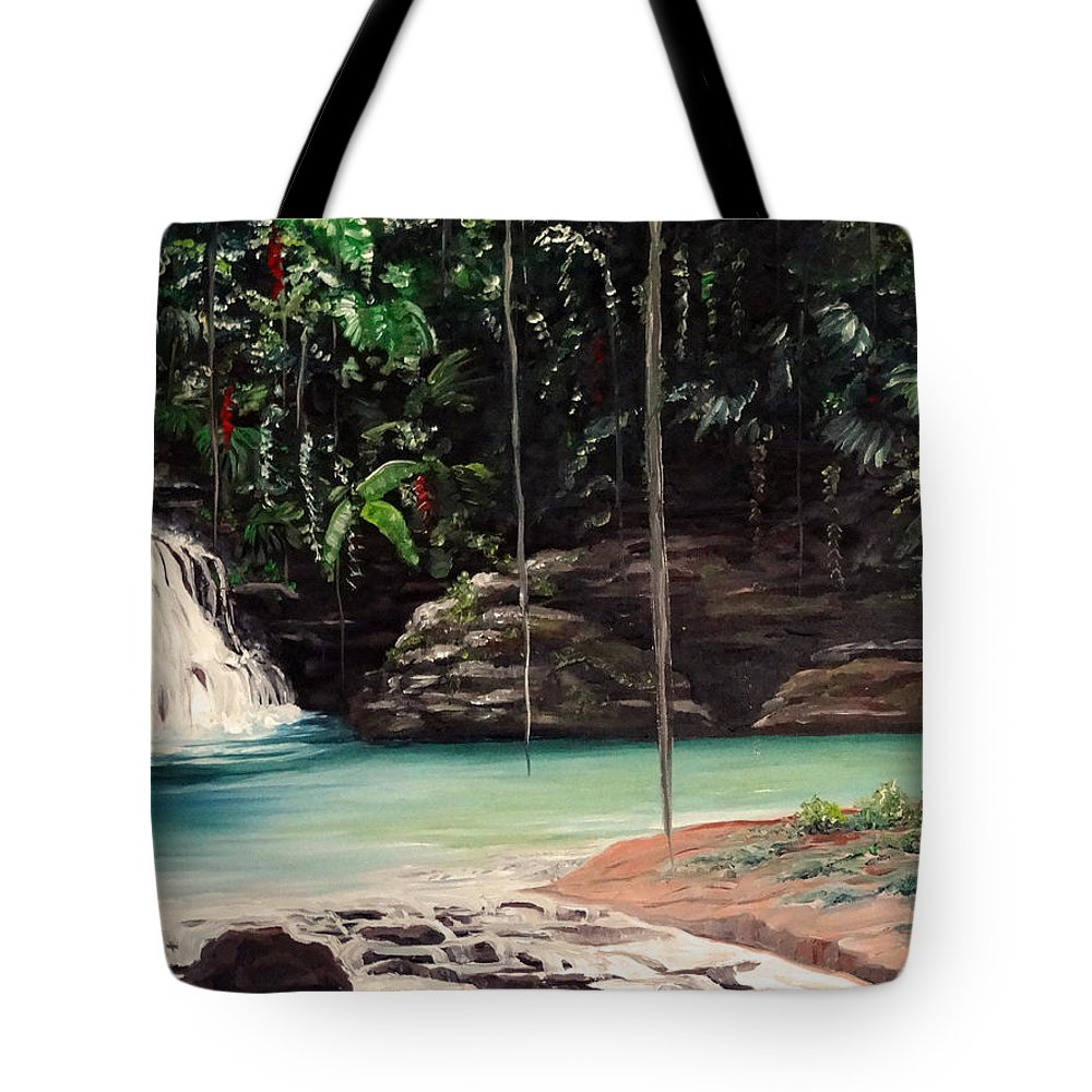 Tropical Waterfall Tote Bag featuring the painting Blue Basin by Karin Dawn Kelshall- Best