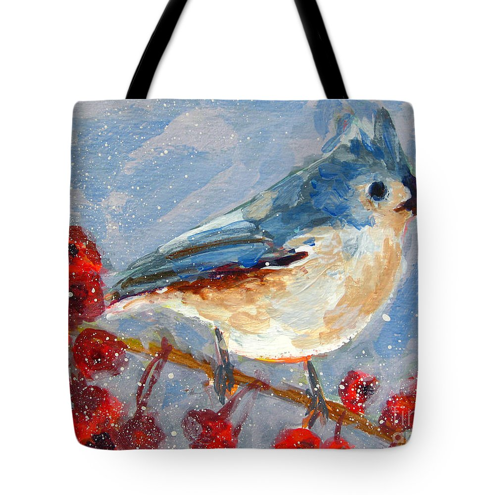 Blue Bird Tote Bag featuring the painting Blue Bird In Winter - Tuft Titmouse Modern Impressionist Art by Patricia Awapara