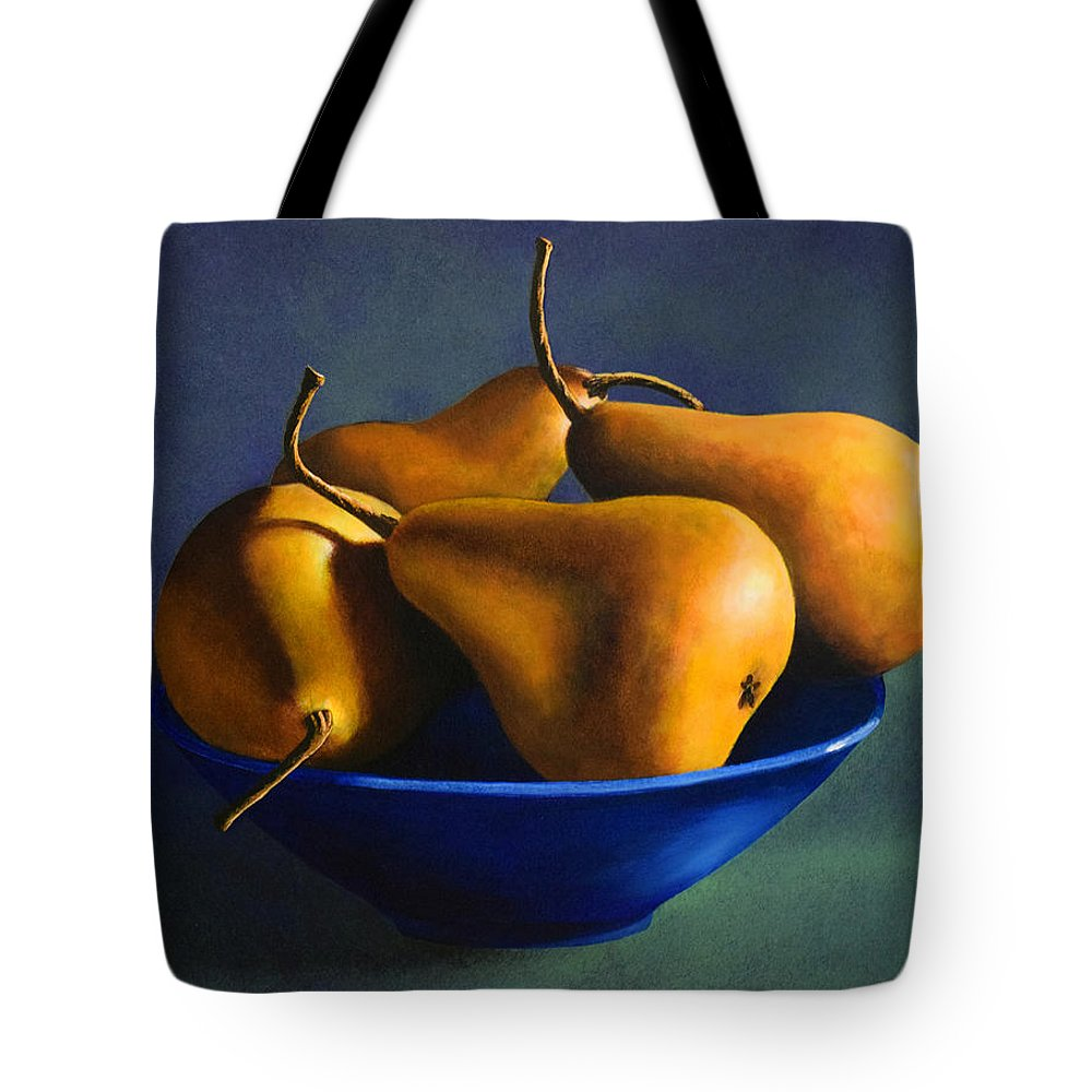Still Life Tote Bag featuring the painting Blue Bowl With Four Pears by Frank Wilson