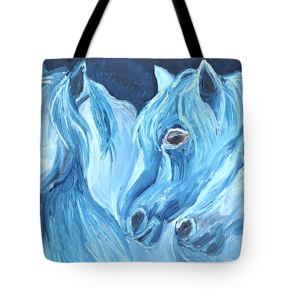 Horses Tote Bag featuring the painting Blue Boyz by Michael Lee