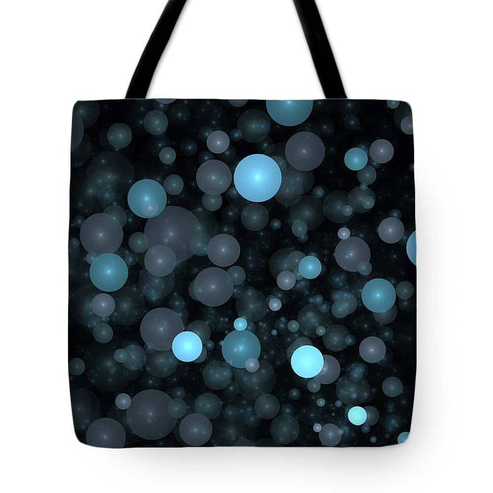 Bubble Tote Bag featuring the digital art Blue Bubbles by Robert Mawby