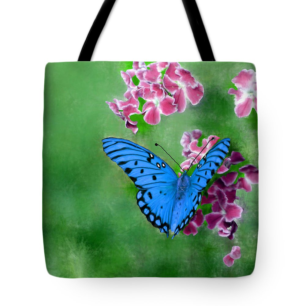 Blue Tote Bag featuring the painting Blue Butterfly by Bruce Nutting