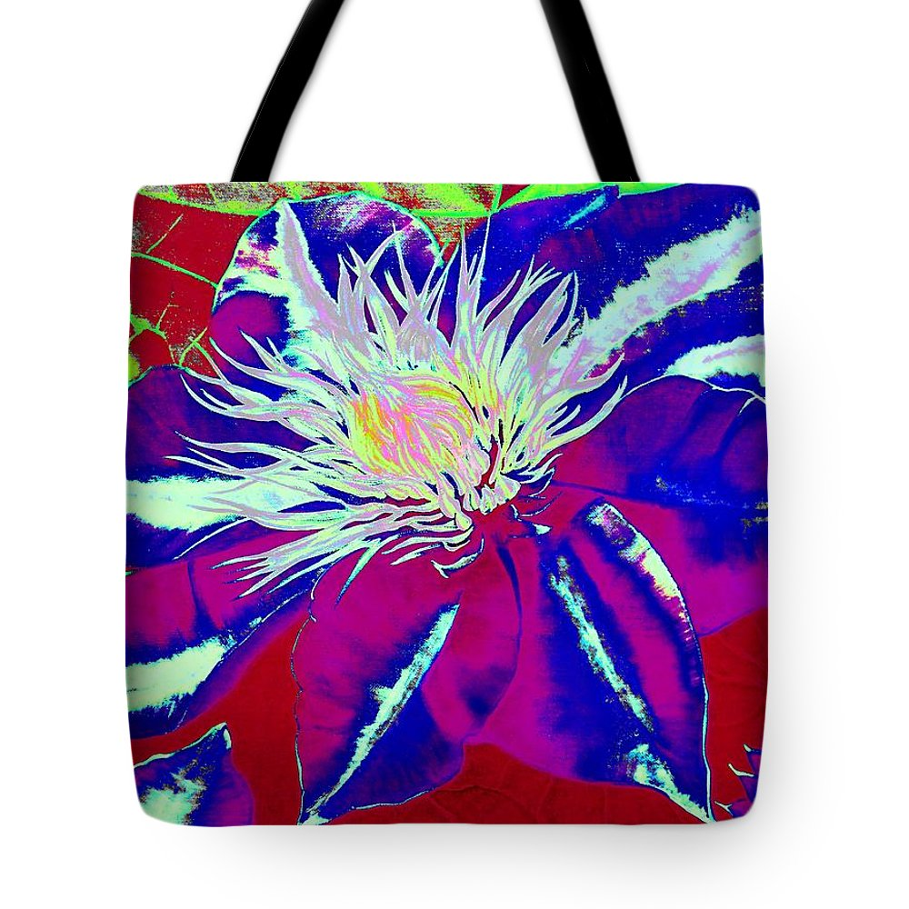 Blue Tote Bag featuring the digital art Blue Clematis by Laura Wilson