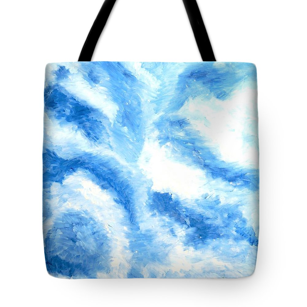 Modern Tote Bag featuring the painting Blue Cloud by Zodiak Paredes
