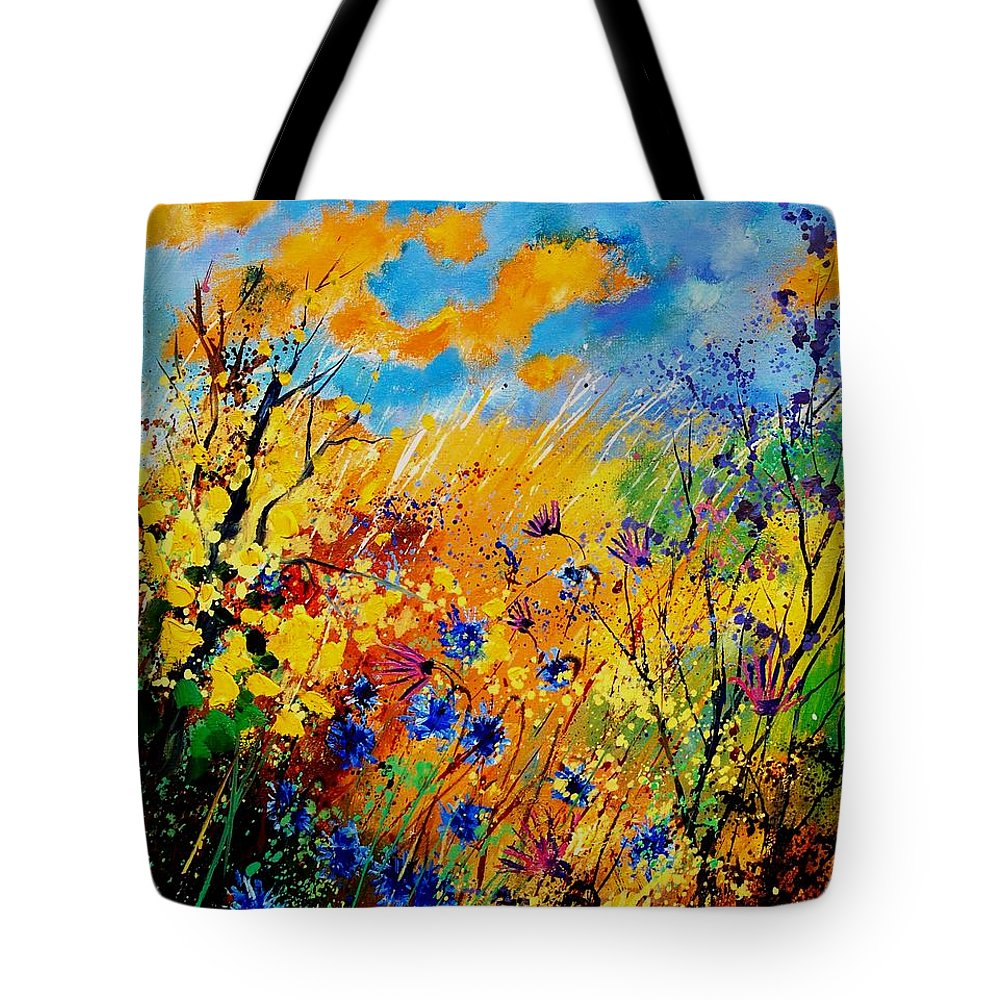 Poppies Tote Bag featuring the painting Blue Cornflowers 450408 by Pol Ledent